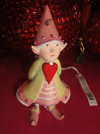krinkles cupid's heart elf ornament